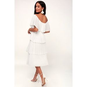 a212b6446 Lulu's Dresses | Gala Ready Offtheshoulder Ruffle Midi Dress | Poshmark